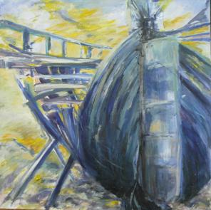 Schiffswracks aus Camaret (Bretagne), 1997, Mischtechnik auf LW